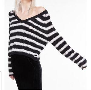 NEW Wildfox Optic Stripe Leanne V Neck Sweater